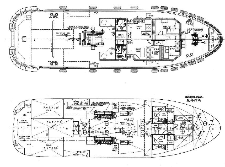 32米双螺丝拖轮